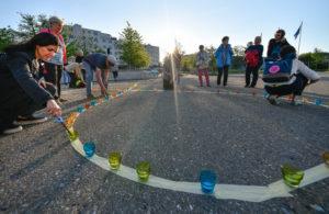 Forum, Volketswil Solidaritätsaktion, Kath. Kirche, Missbrauchsfälle, Protest, Gemeindehausplatz